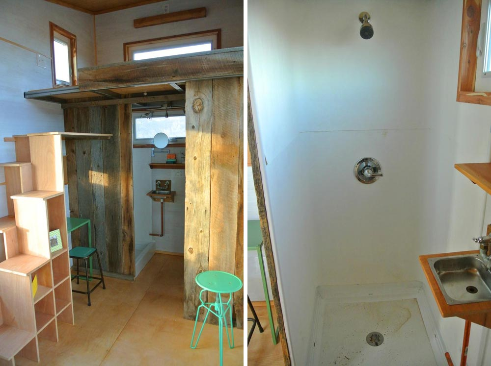 Bathroom and shower stall - Boulder by Rocky Mountain Tiny Houses