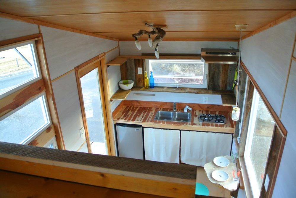 View of kitchen from bedroom loft - Boulder by Rocky Mountain Tiny Houses
