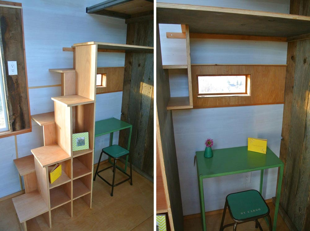 Storage stairs and desk - Boulder by Rocky Mountain Tiny Houses