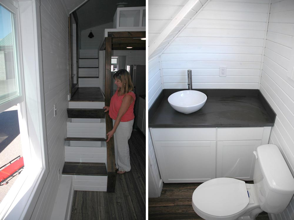 Storage stairs and Bathroom - Clear Creek by Tiny Idahomes