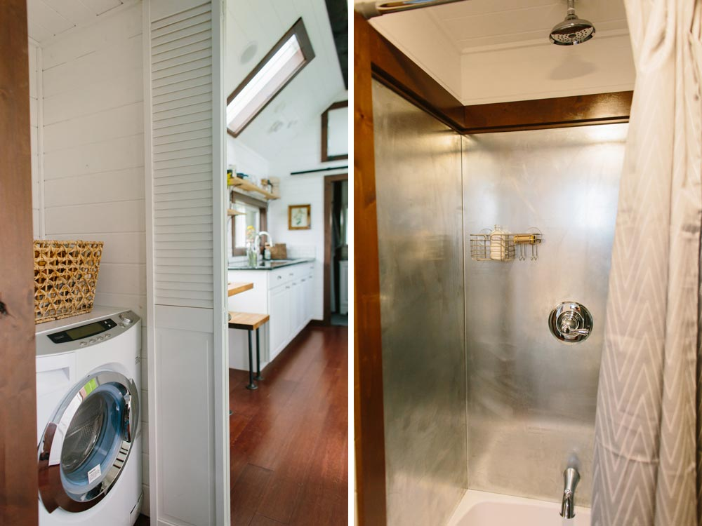 Laundry area and stainless steel shower - Emerald by Tiny Heirloom