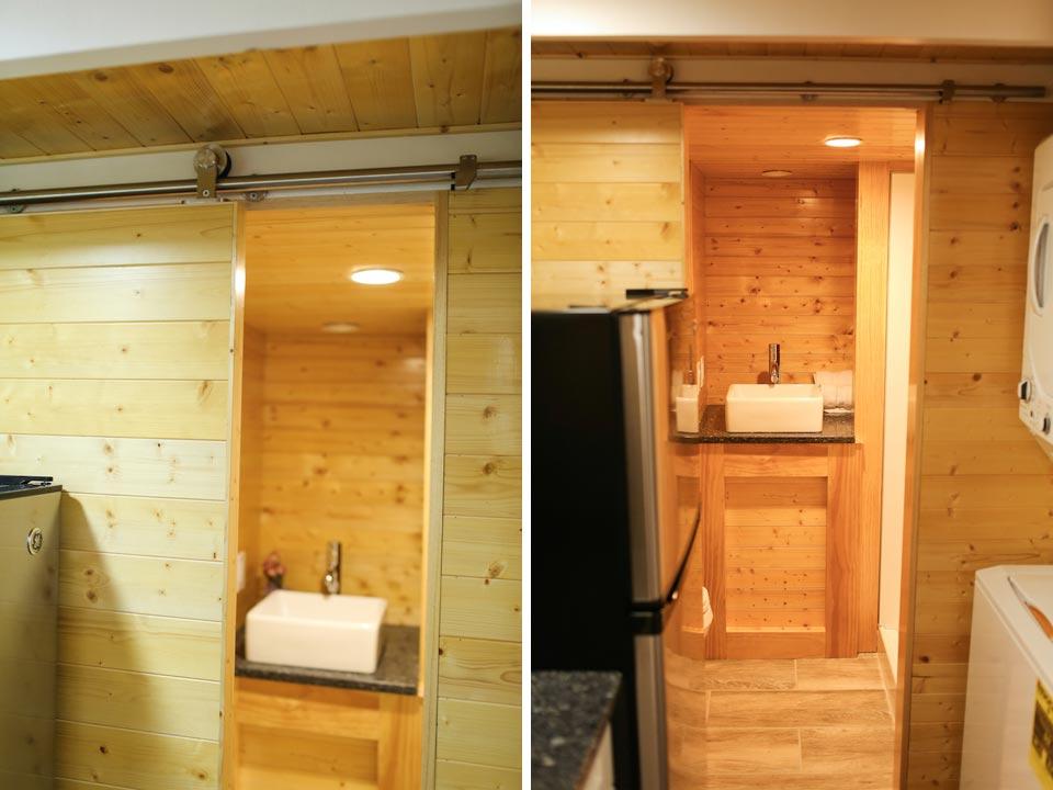 Bathroom with barn door - Fontana by Cornerstone Tiny Homes