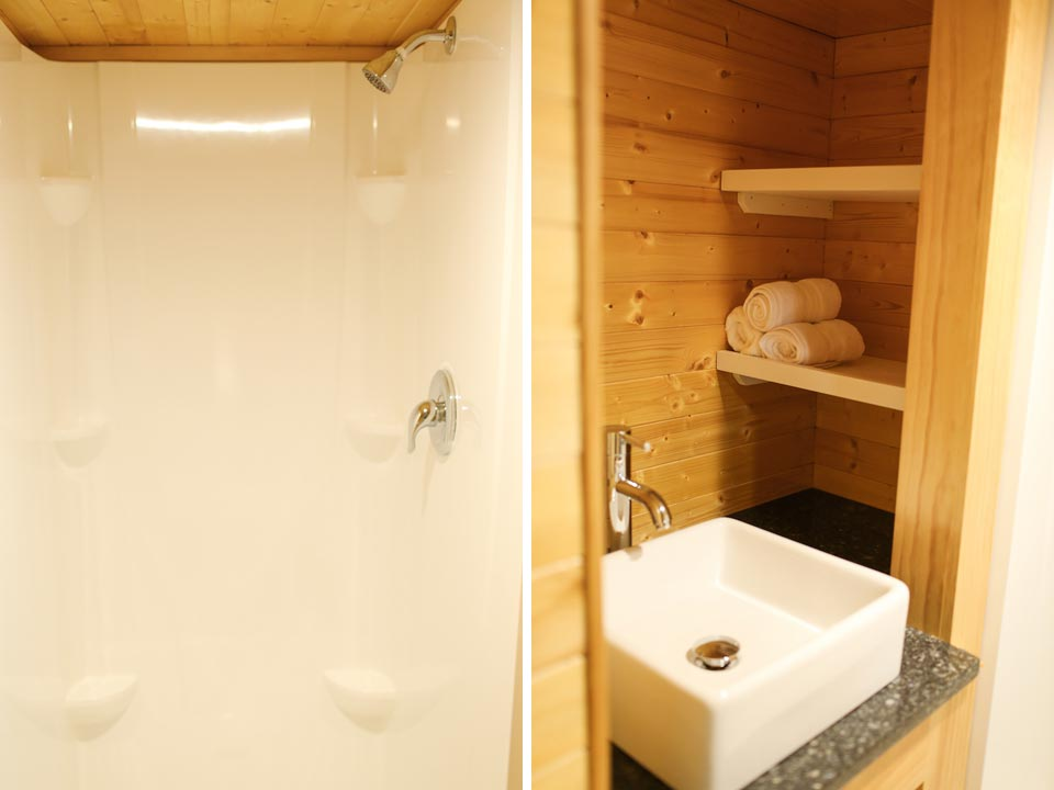 Shower with corner shelves - Fontana by Cornerstone Tiny Homes