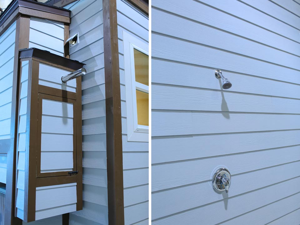 Tankless water heater and outdoor shower - Fontana by Cornerstone Tiny Homes