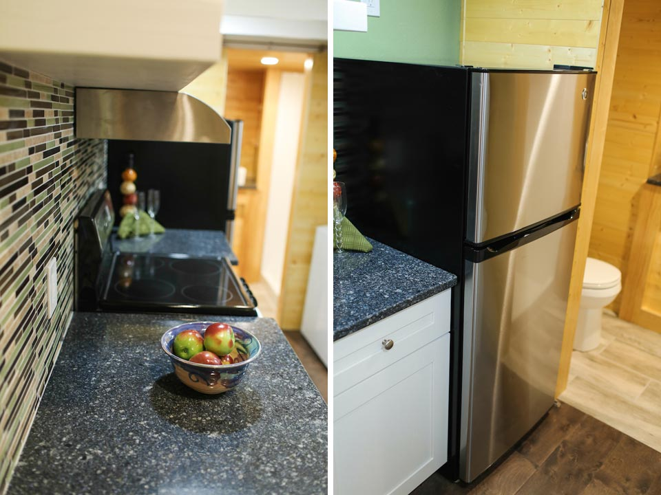 Full kitchen with apartment size refrigerator - Fontana by Cornerstone Tiny Homes