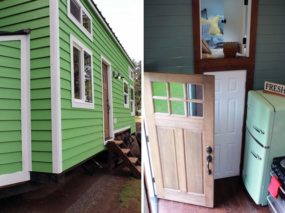 Green siding with white trim by Tiny Heirloom