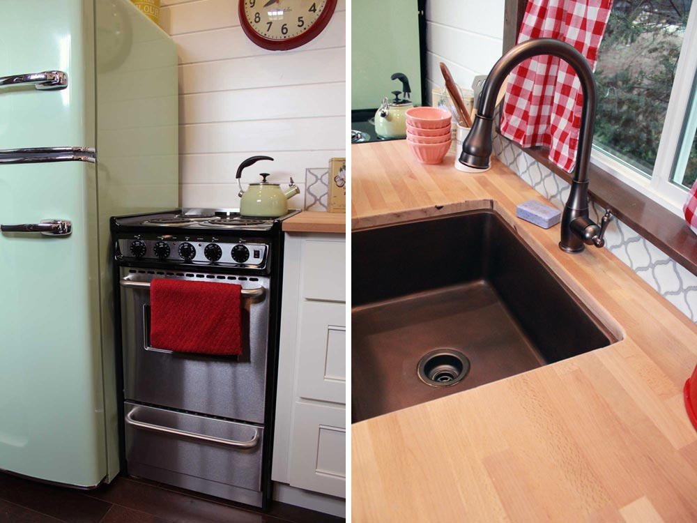 Stainless steel range and farm sink - Family of Four by Tiny Heirloom