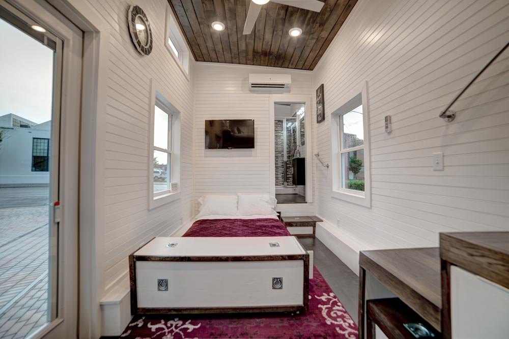 Living room w sofa sleeper freedom by alabama tiny homes