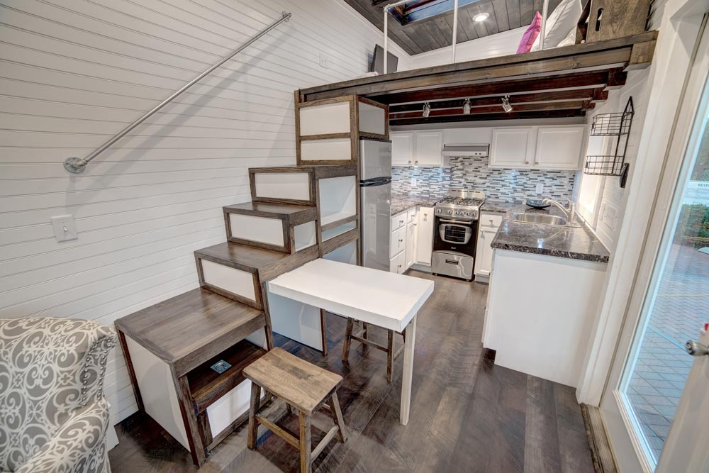 Storage Stairs and Kitchen - Freedom by Alabama Tiny Homes