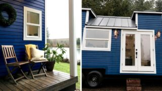 Bold blue exterior with white trim - Vintage Glam by Tiny Heirloom