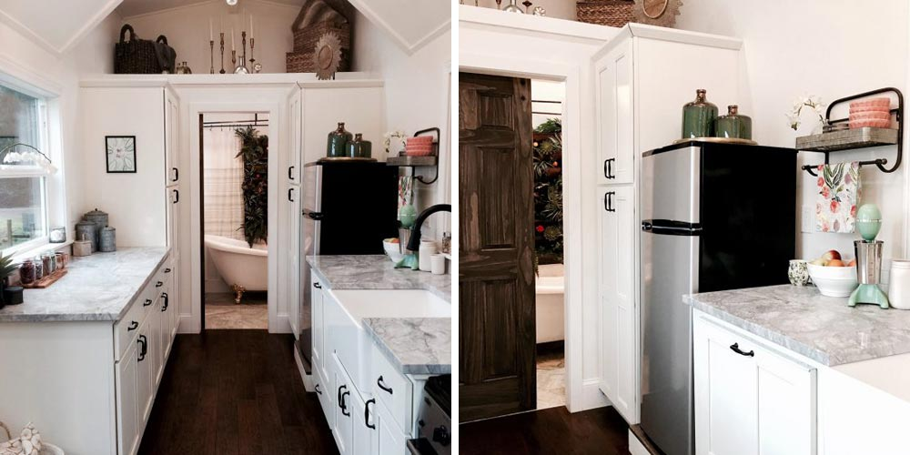 White kitchen cabinets and light grey granite - Vintage Glam by Tiny Heirloom