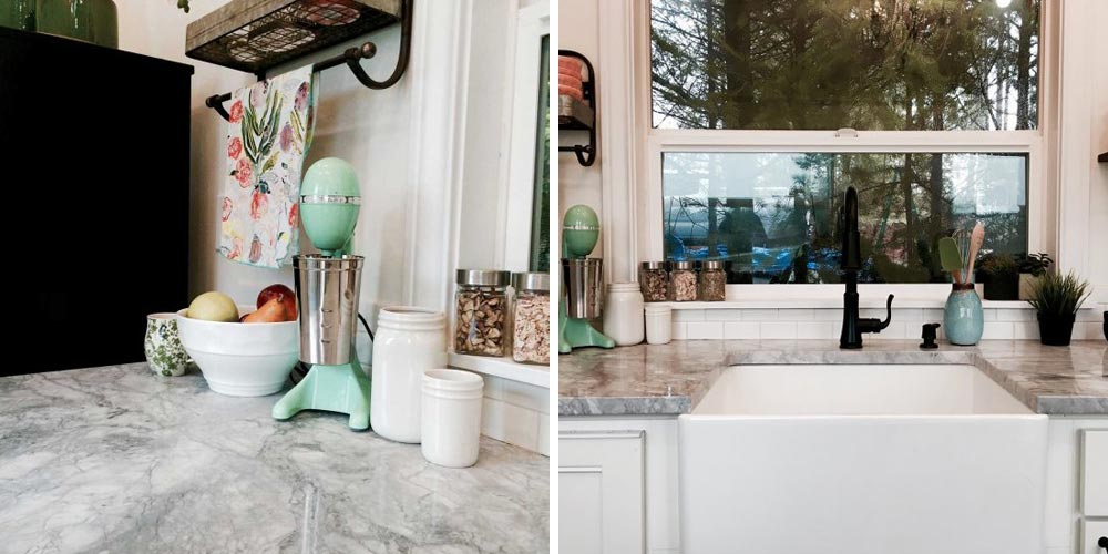 Granite countertops and farm sink - Vintage Glam by Tiny Heirloom