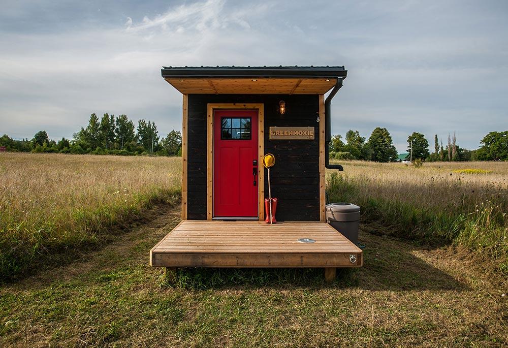 Entryway with fold down patio - Greenmoxie Tiny House
