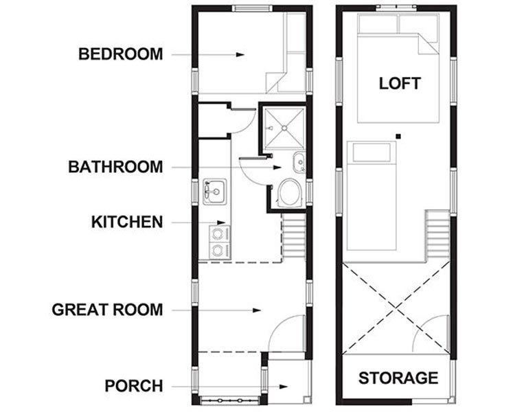 Cypress design floor plan - Lincoln at Mt. Hood Tiny House Village