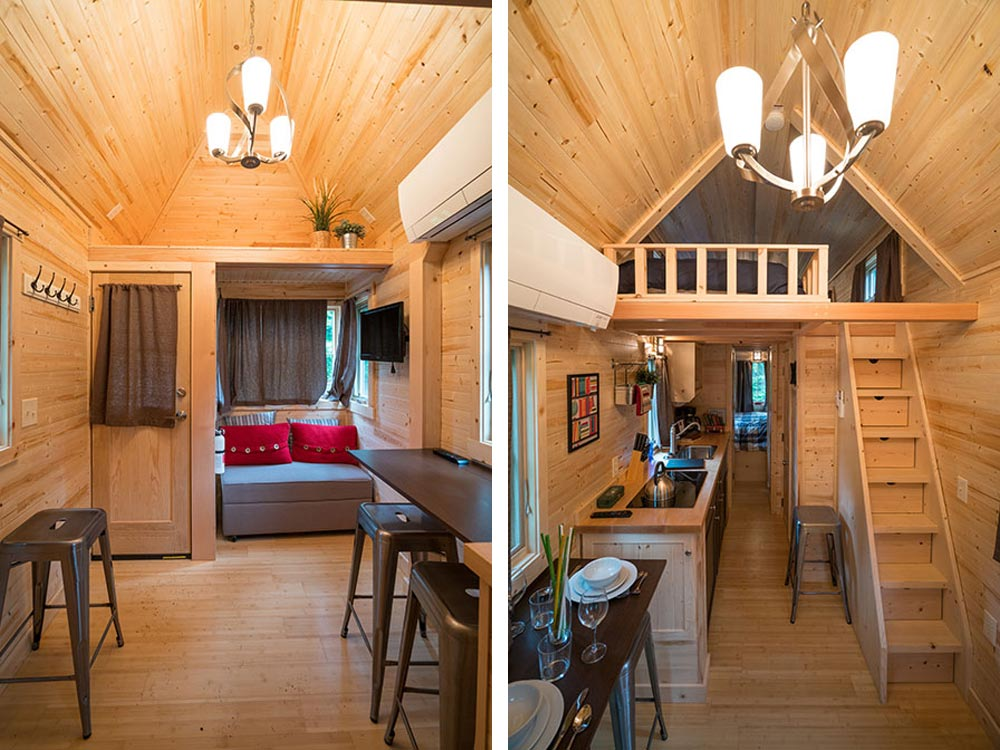 Living room and storage stairs leading to bedroom loft - Lincoln at Mt. Hood Tiny House Village