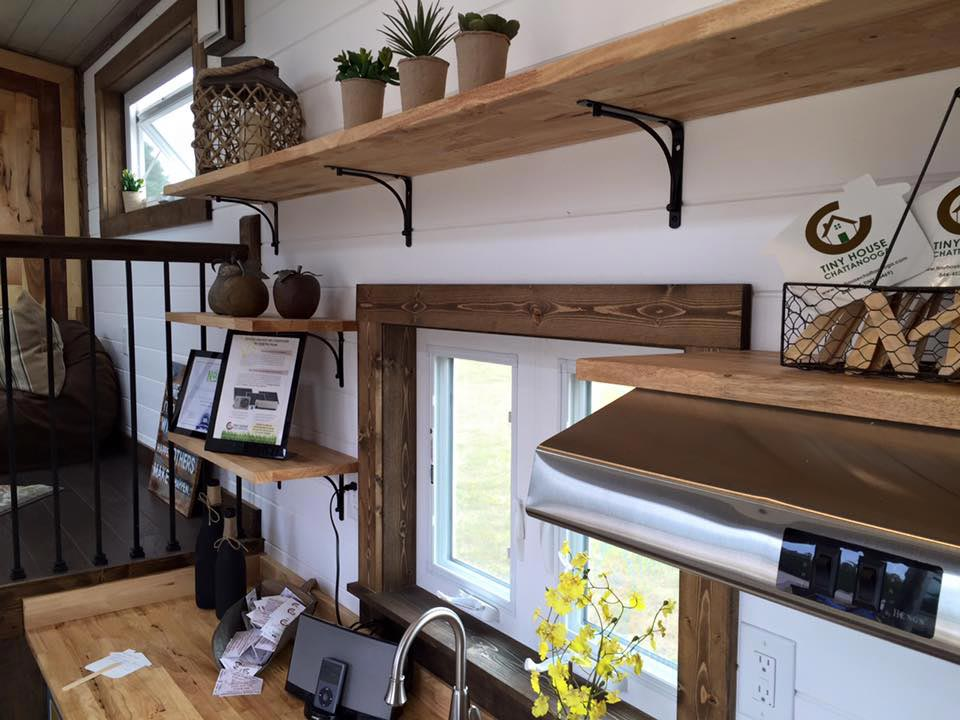 Kitchen with large shelves - Lookout by Tiny House Chattanooga