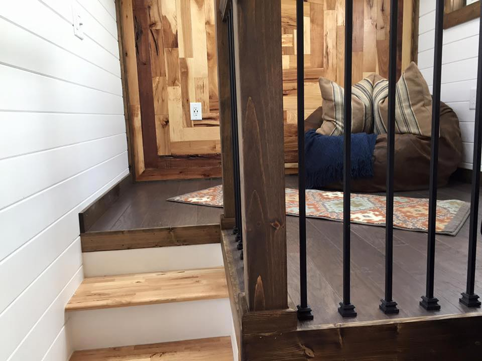 Stair detail leading to living room - Lookout by Tiny House Chattanooga