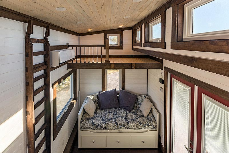 Living room and bedroom loft - Nooga Blue Sky by Tiny House Chattanooga