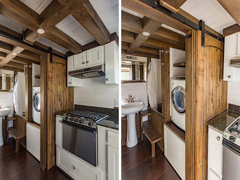 Kitchen and laundry area - Nooga Blue Sky by Tiny House Chattanooga