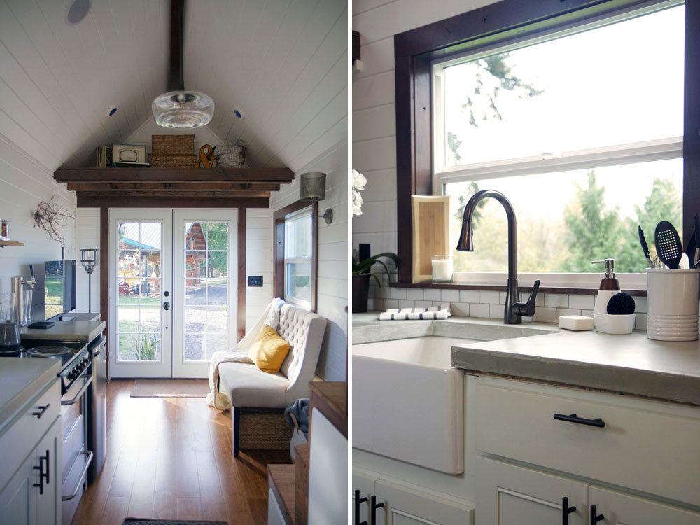 Living room and kitchen with farm sink - Northwest Haven by Tiny Heirloom