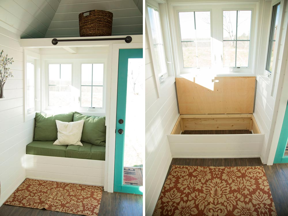 Custom love seat with storage - Pecan by Perch & Nest