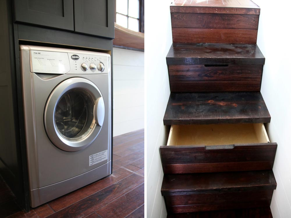 Washer/dryer and storage stairs - Wind River Tiny Homes