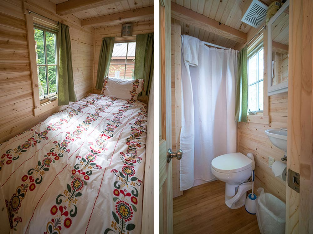 Single bed and bathroom - Lincoln at Mt. Hood Tiny House Village