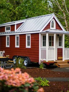 Red siding with white trim exterior - Scarlett at Mt. Hood Tiny House Village
