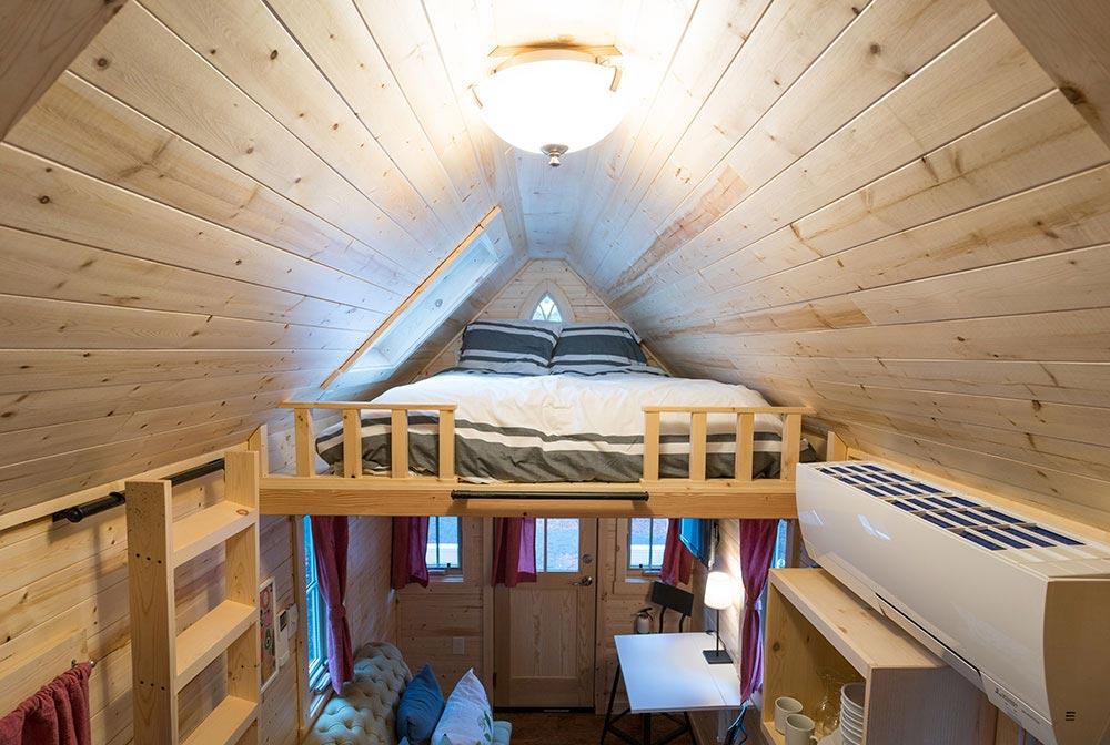 Bedroom loft with ladder access - Scarlett at Mt. Hood Tiny House Village
