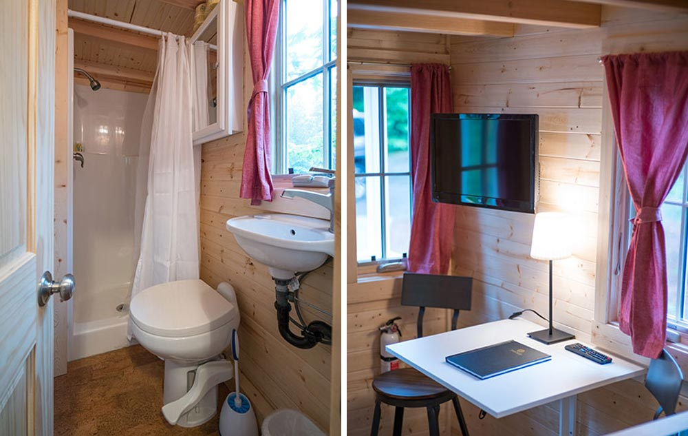Bathroom and desk areas - Scarlett at Mt. Hood Tiny House Village