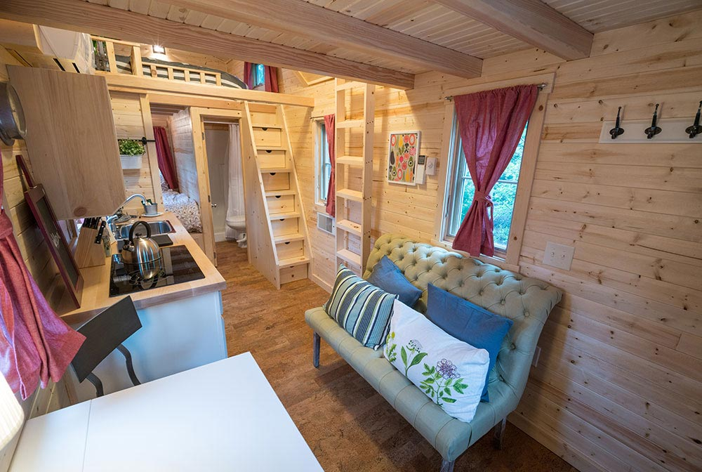 Interior view of living room and kitchen area - Scarlett at Mt. Hood Tiny House Village