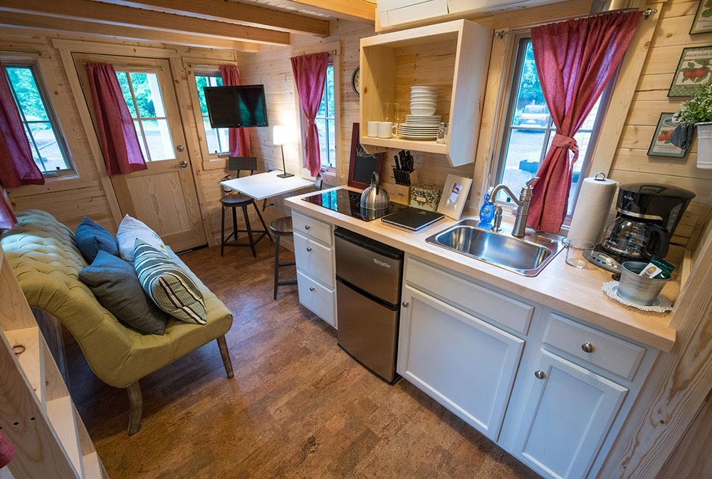 Kitchen with electric cooktop - Scarlett at Mt. Hood Tiny House Village