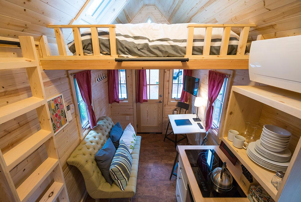 Entryway and bedroom loft - Scarlett at Mt. Hood Tiny House Village