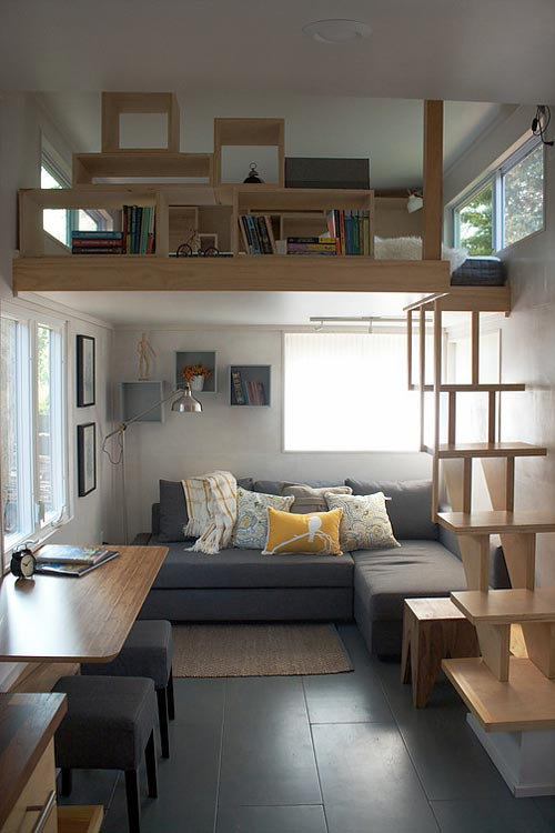 Living Room and Loft - Liberation Tiny Homes