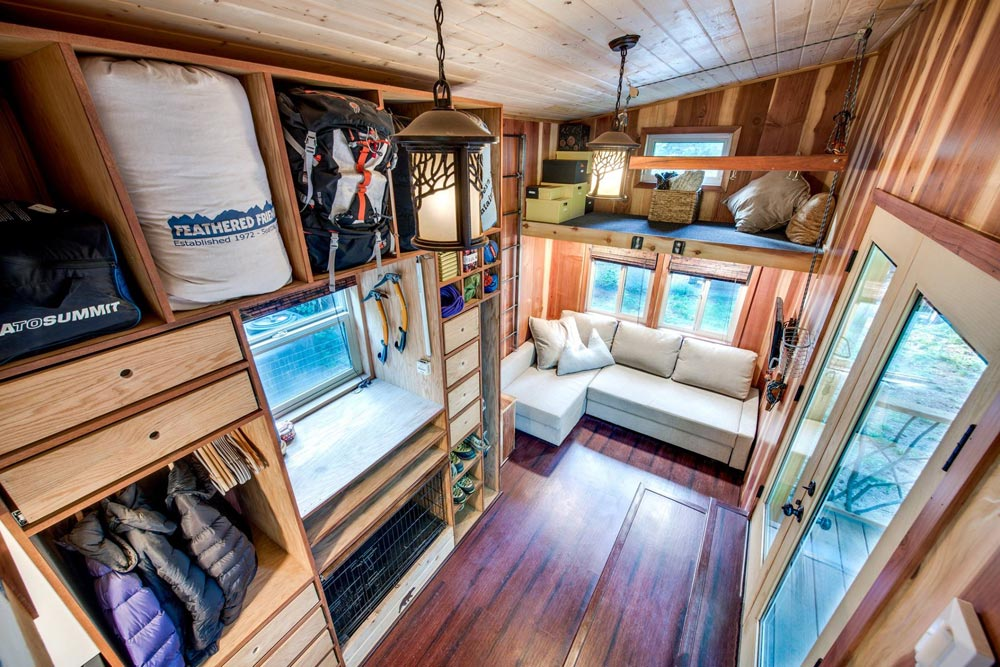 Living Room & Storage Areas - Basecamp by Backcountry Tiny Homes