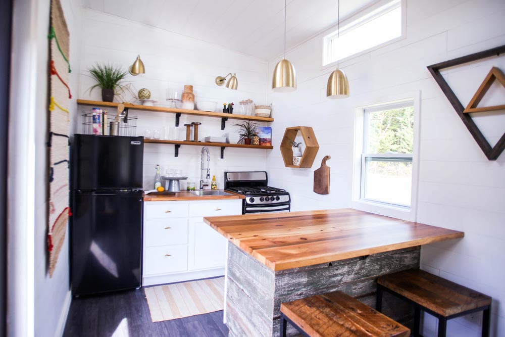 Kitchen w/ Large Butcher Block Counter - Tiny House Giveaway by Lamon Luther