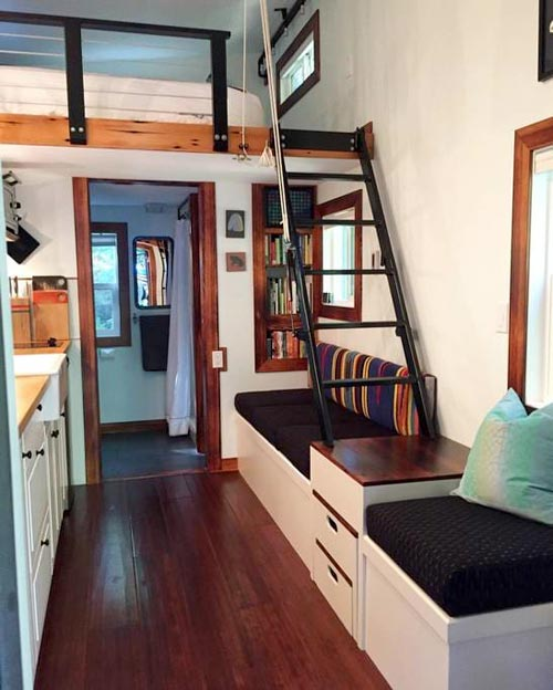 Stair Pull System - Makers Tiny House on Guemes Island