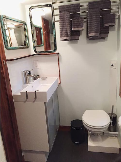 Bathroom Sink and Toilet - Makers Tiny House on Guemes Island