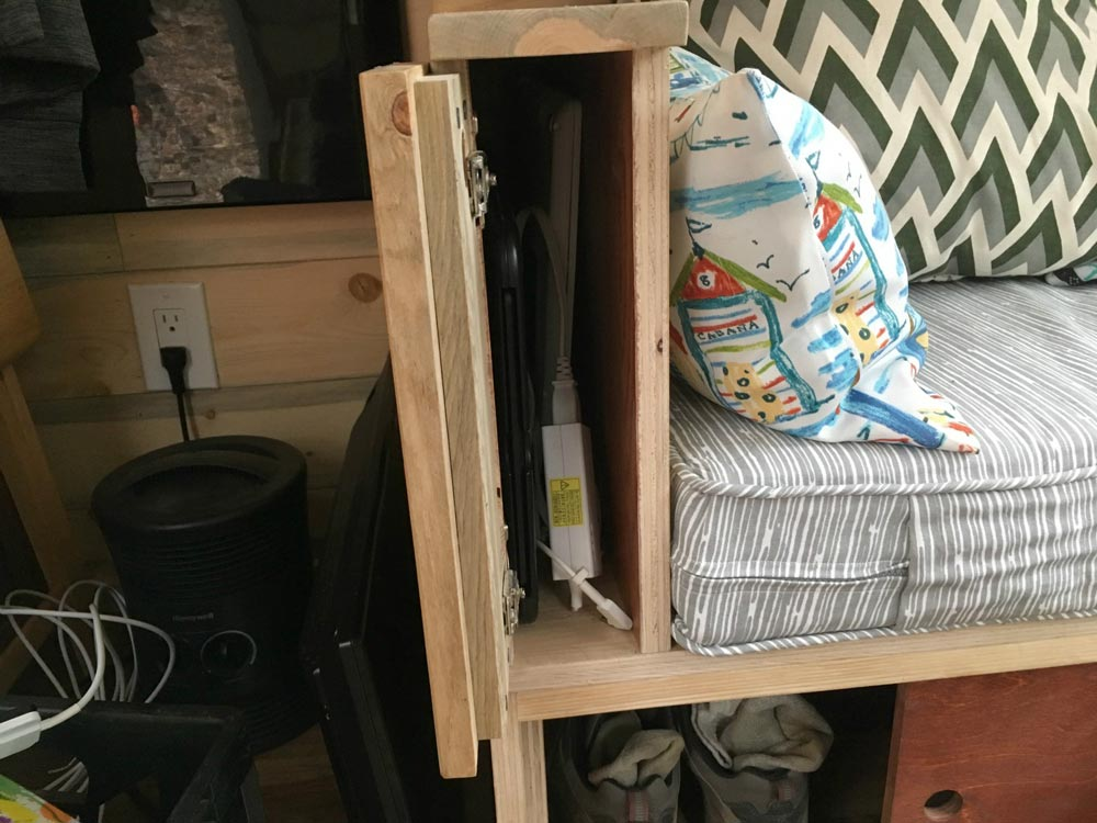 Couch Arm Storage - Harmony Haven by Rocky Mountain Tiny Houses