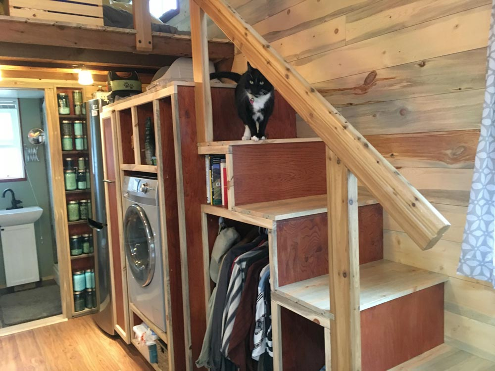 Storage Stairs w/ Washer/Dryer Combo - Harmony Haven by Rocky Mountain Tiny Houses