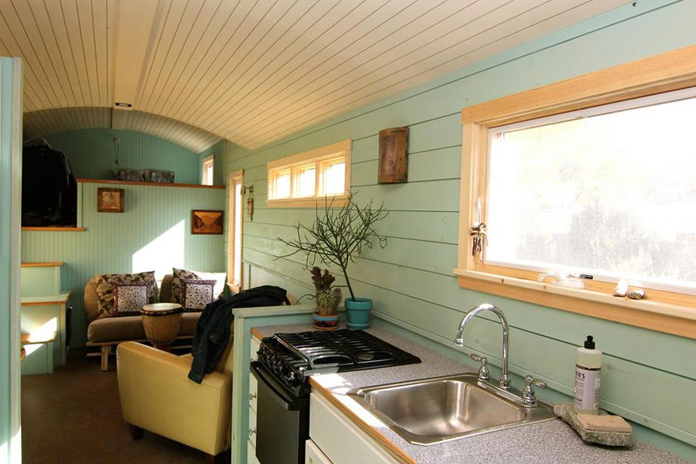 Kitchen Sink & Stove - 5th Wheel Tiny House by Ken Leigh