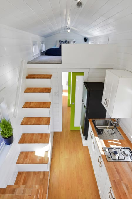Storage Stairs & Kitchen - Custom Tiny by Mint Tiny Homes