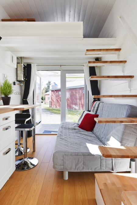 Floating Stairs & Living Room - Custom Tiny by Mint Tiny Homes