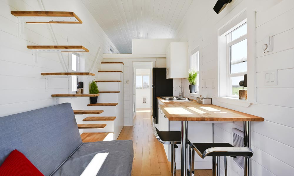 Floating Stairs - Custom Tiny by Mint Tiny Homes