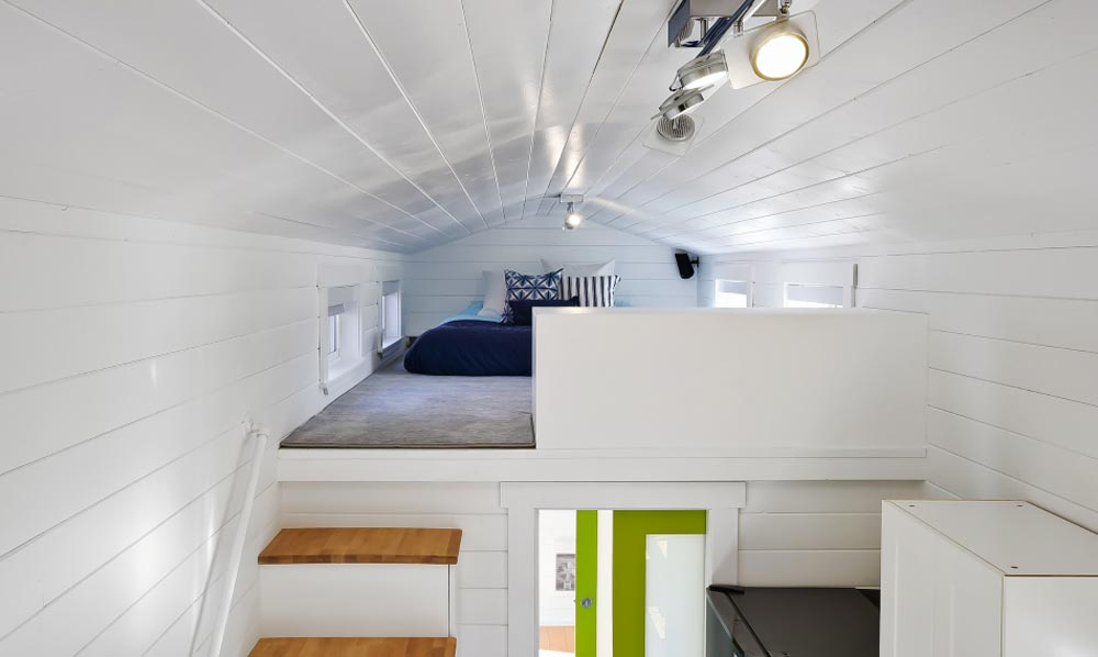 Bedroom Loft w/ Privacy Wall - Custom Tiny by Mint Tiny Homes