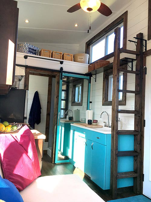 Ladder stored to side when not in use - Youngstown by Harmony Tiny Homes