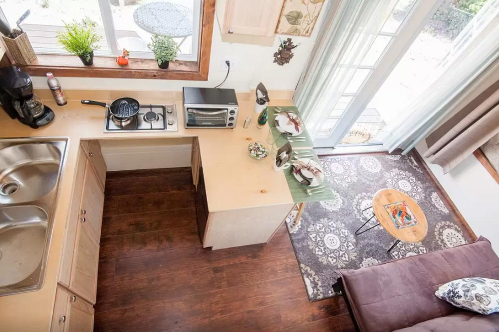 Aerial View of Kitchen - Zen Tiny Homes