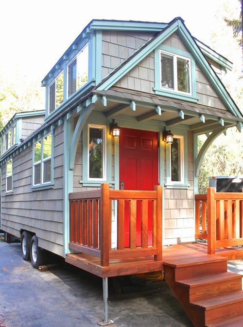 Old Growth Redwood Porch - Craftsman Bungalow by Molecule Tiny Homes