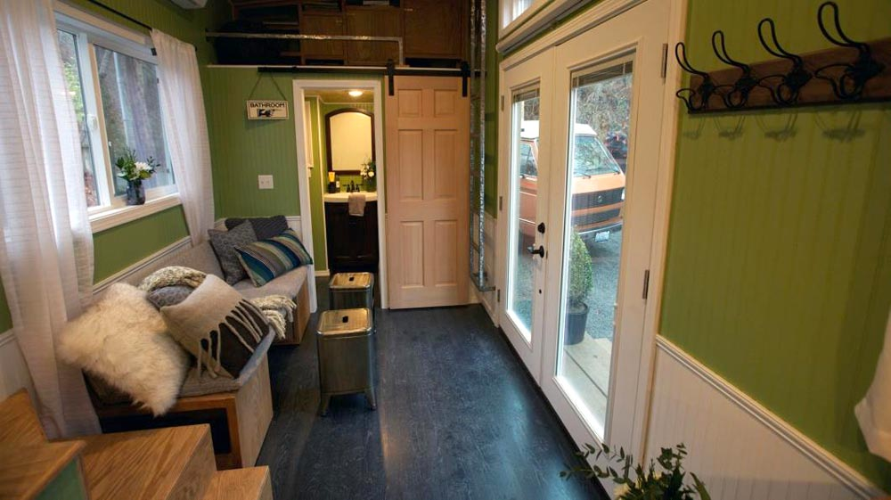 French Doors & Living Area - Everett by American Tiny House
