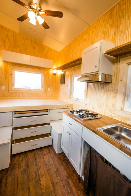 Kitchen & Bedroom - Jessica's Tiny House by MitchCraft Tiny Homes